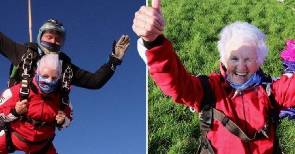 ქალი 90-ე დაბადების დღის აღსანიშნად პარაშუტით გადმოხტა
